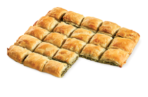 Square country pie with spinach, mizithra & feta cheese (35×29cm)