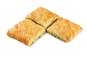 Country pie ruffled with spinach leek & feta cheese square