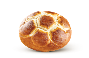 Pretzel football roll, fully baked