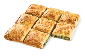 Square country pie with spinach - mizithra - feta cheese