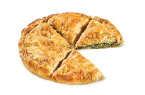 Round country pie with spinach mizithra & feta cheese
