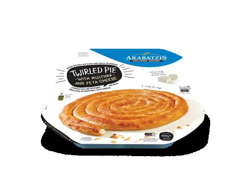 Twirled pie with mizithra-feta cheese