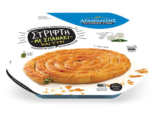 Twirled pie with spinach & mizithra-feta cheese