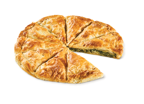 Round country pie with spinach - vegetarian
