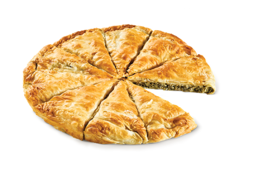Round country pie with spinach - mizithra - feta cheese